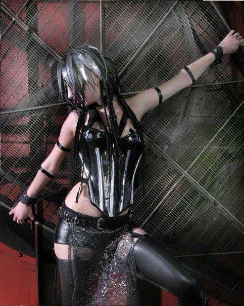cyber silver hair cyberpunk model