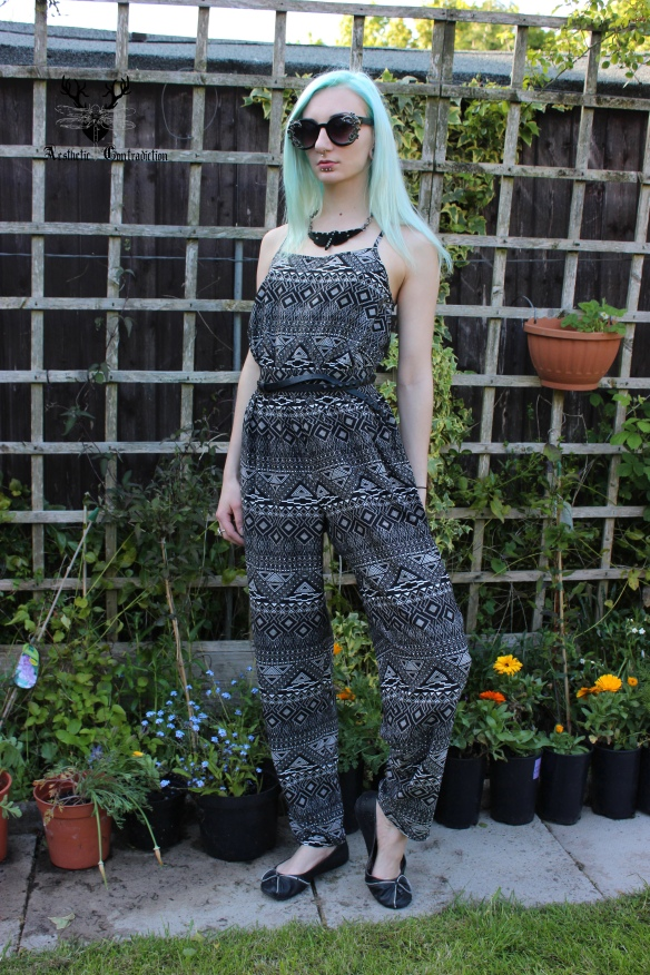 Aztec print jumpsuit and asos baroque sunglasses full length